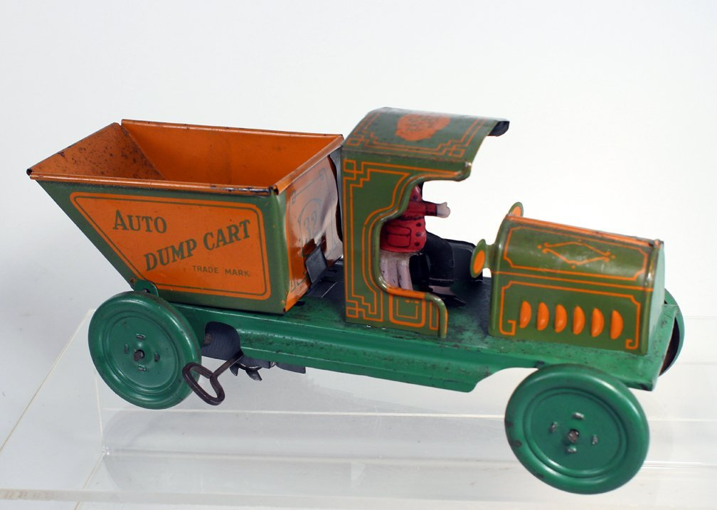 Ferdinand Strauss Tin Auto Dump Cart Early Wind Up - 2