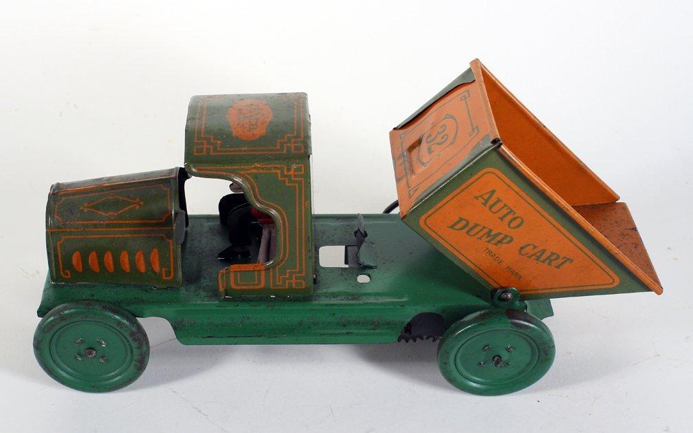 Ferdinand Strauss Tin Auto Dump Cart Early Wind Up - 3