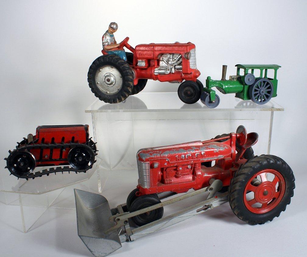 4 Tractor Toys -Hubley, Marx Minic, Auburn