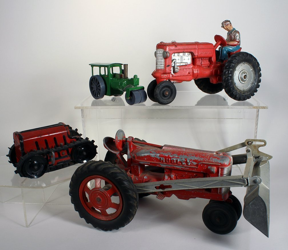 4 Tractor Toys -Hubley, Marx Minic, Auburn - 3