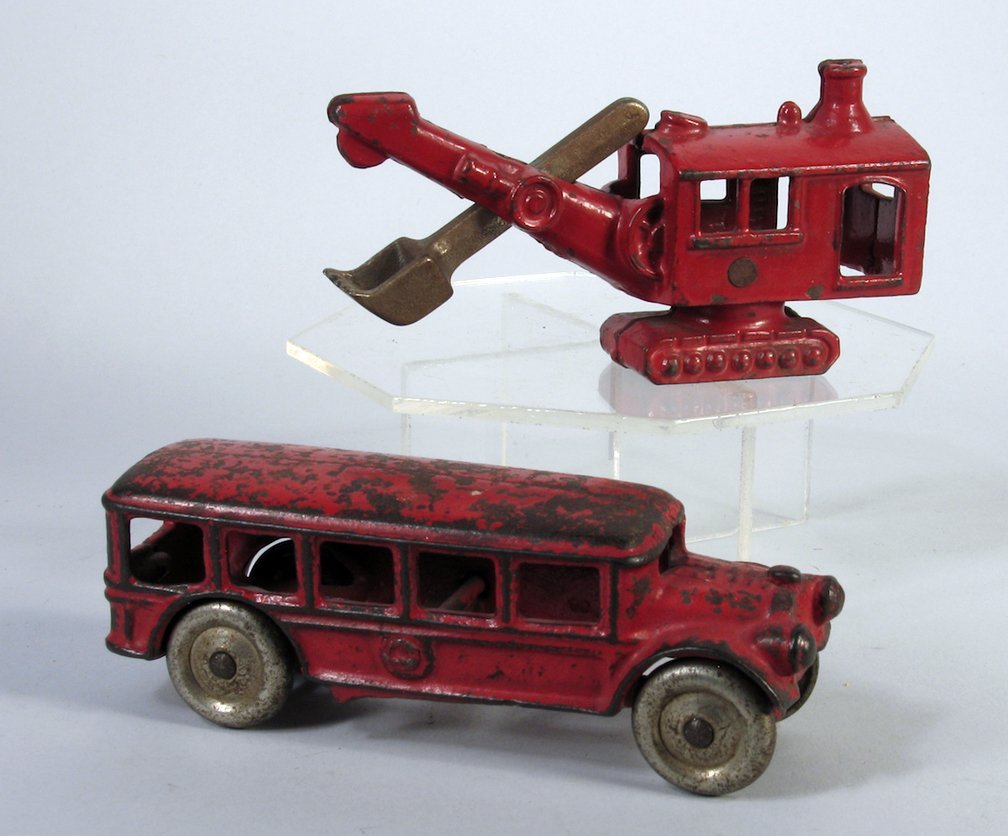 Hubley Cast Iron Steam Shovel and Bus