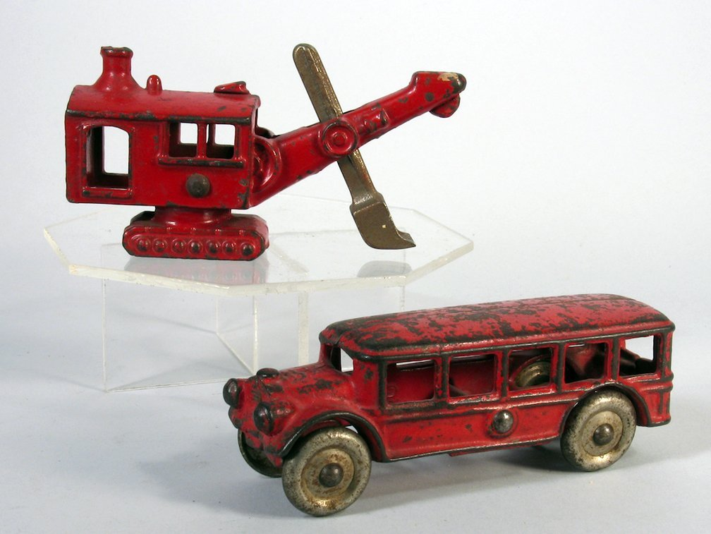 Hubley Cast Iron Steam Shovel and Bus - 2