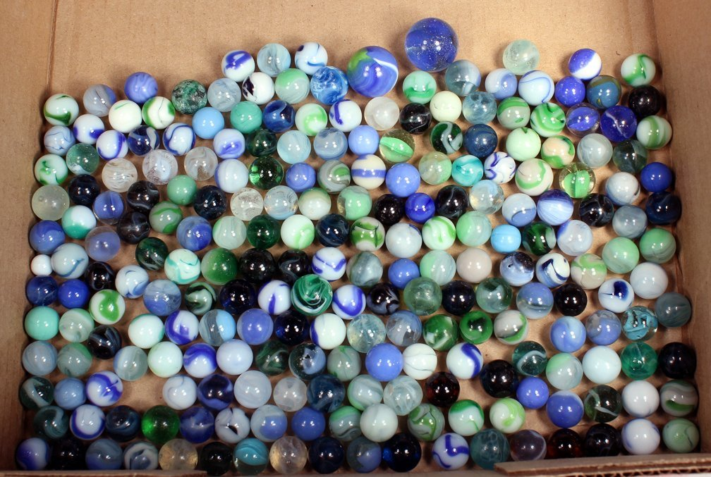 Antique Marble and Shooter Lot Blues &Green - 3