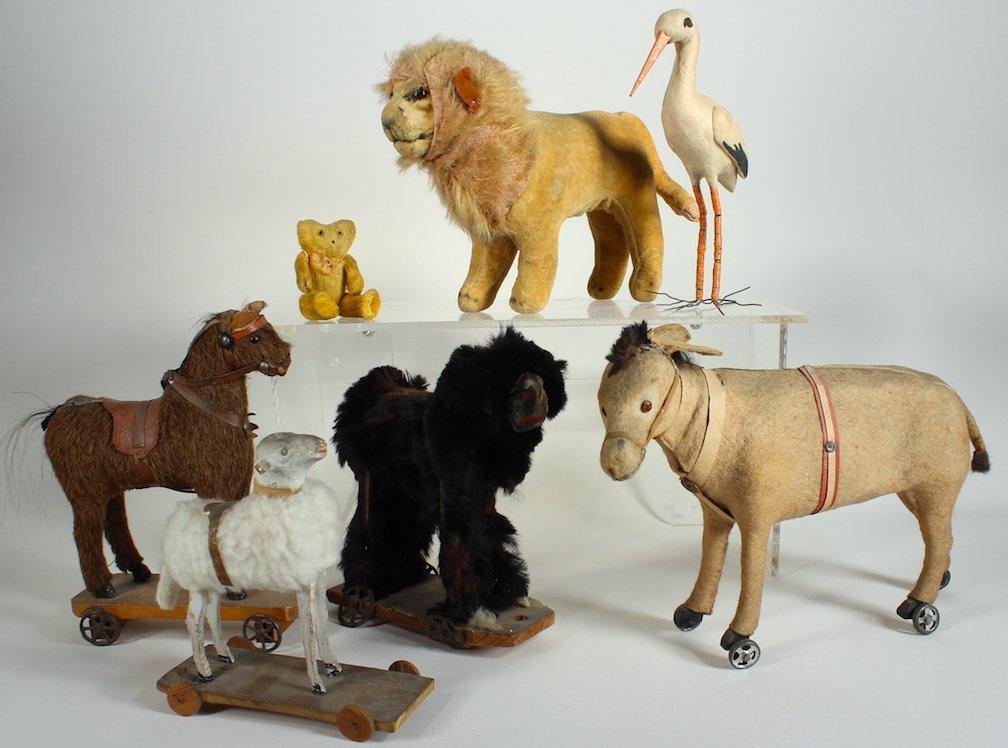 German Animals Some on Wheels & Steiff