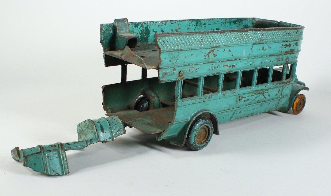 1925 Arcade Cast Iron Double Decker Bus Damaged - 3