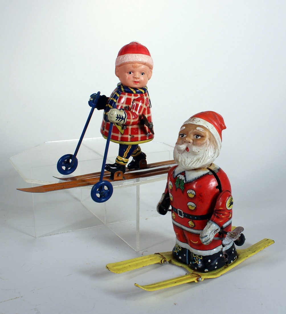 Japan Tin Bandai Santa on Skis and Boy on Skis
