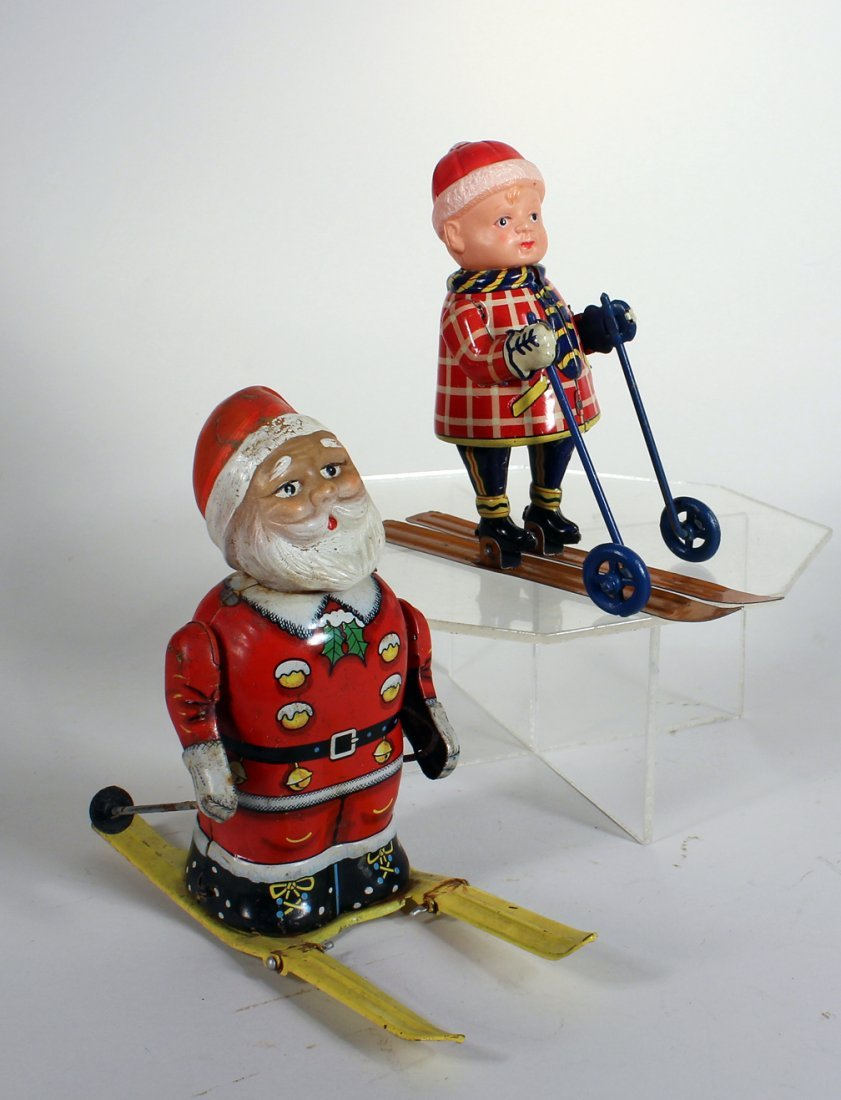 Japan Tin Bandai Santa on Skis and Boy on Skis - 2