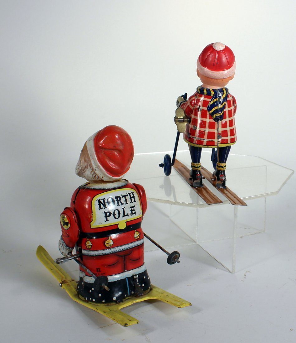 Japan Tin Bandai Santa on Skis and Boy on Skis - 3