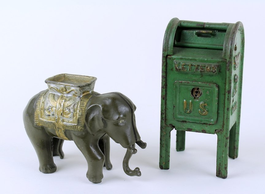 1920s Cast Iron Elephant and US Mail Still Banks