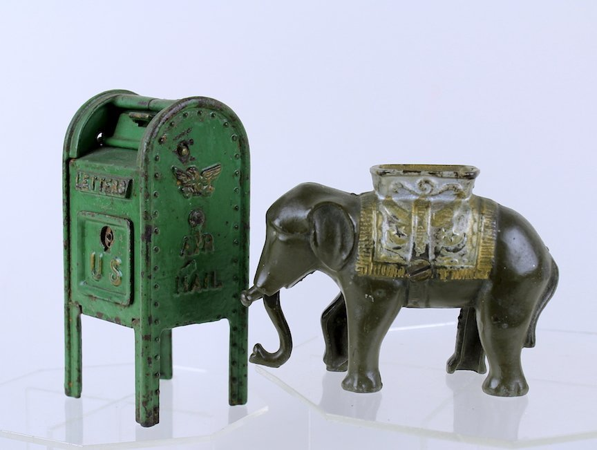 1920s Cast Iron Elephant and US Mail Still Banks - 2