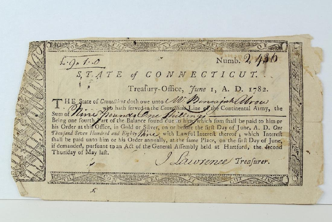 1782 State Of Connecticut Continental Army Pay Script