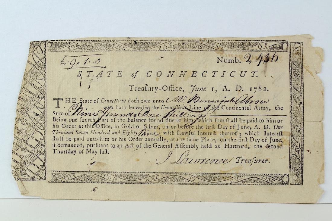 1782 State Of Connecticut Continental Army Pay Script - 2