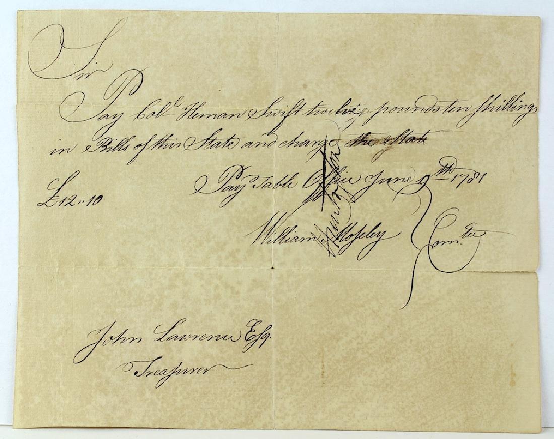 1781 Revolutionary War Payment Voucher Connecticut