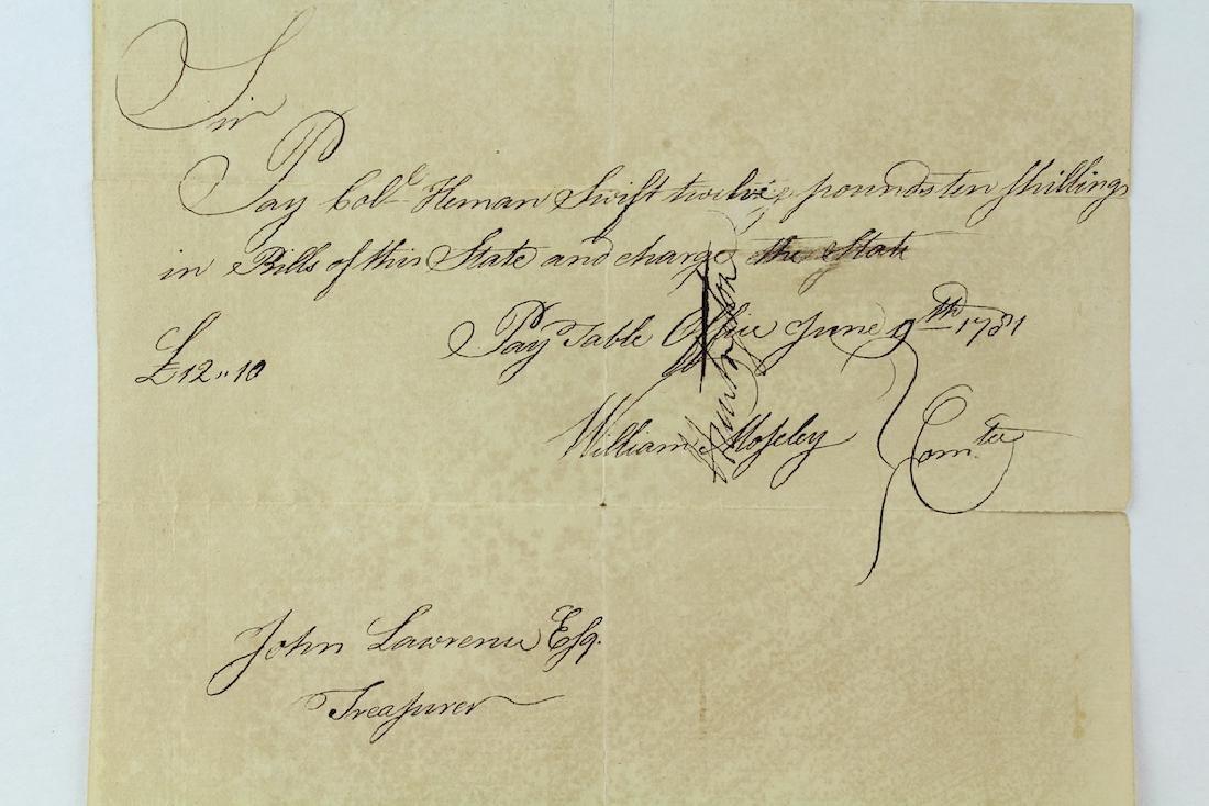 1781 Revolutionary War Payment Voucher Connecticut - 2