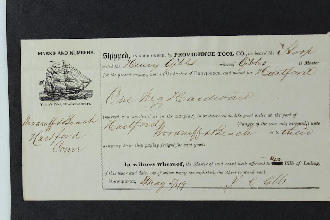 1849 Henry Gibbs Sloop Sailing Ship Bill of Laden RI - 3