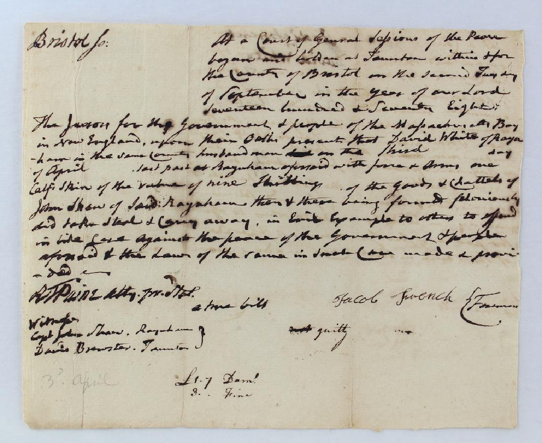 1778 Robert T. Paine Signed Document on Theft - 2