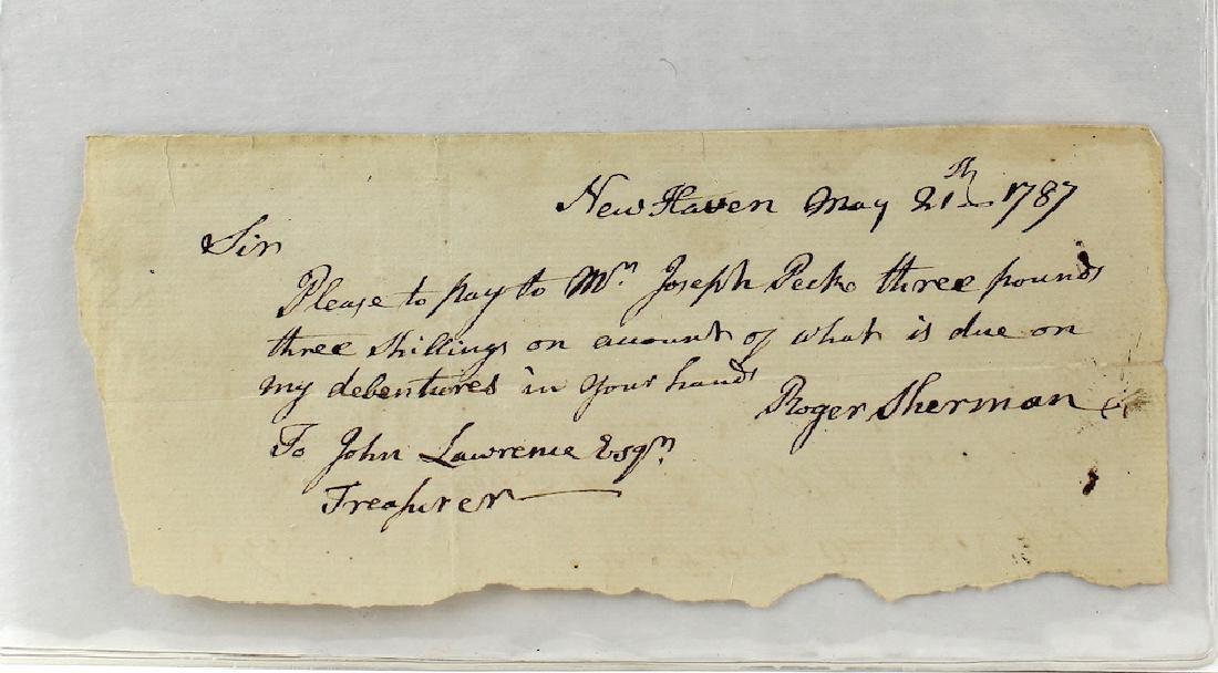 1787 Roger Sherman Declaration Of Independence Signer