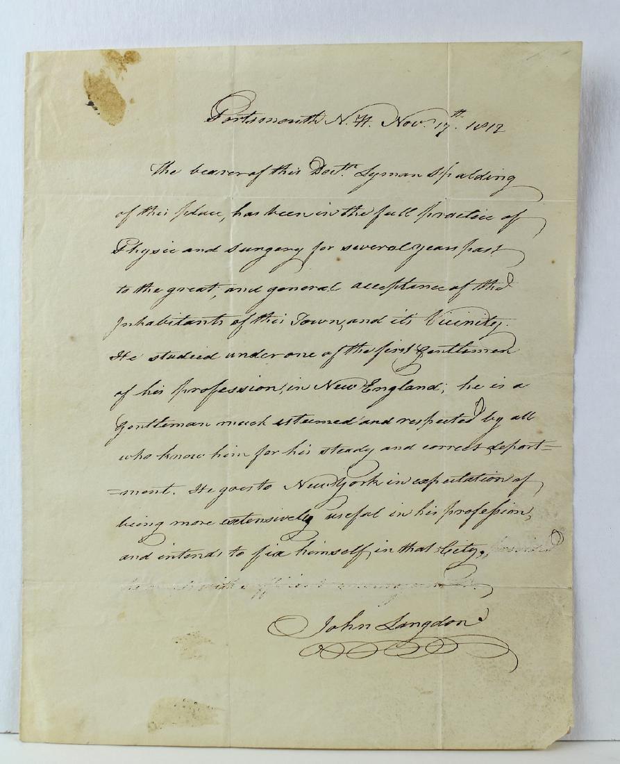 1812 John Langdon Constitution Signer Signed Letter