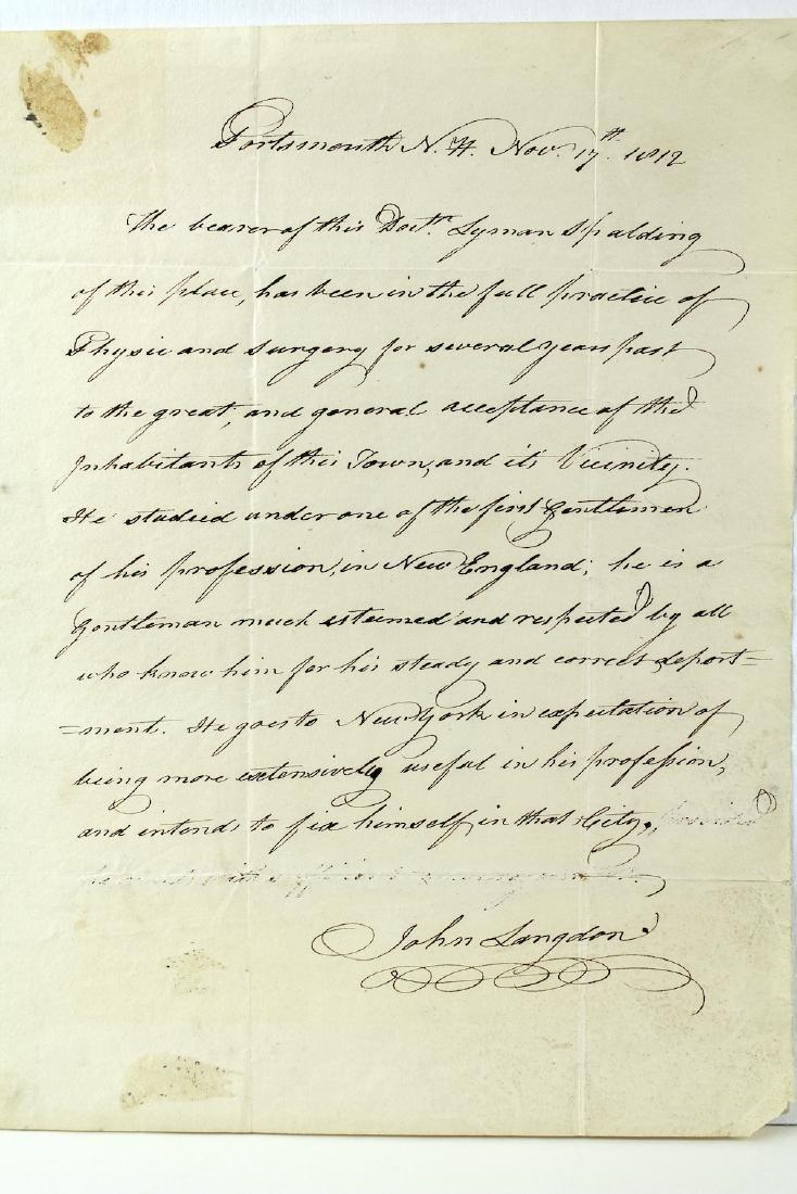 1812 John Langdon Constitution Signer Signed Letter - 2
