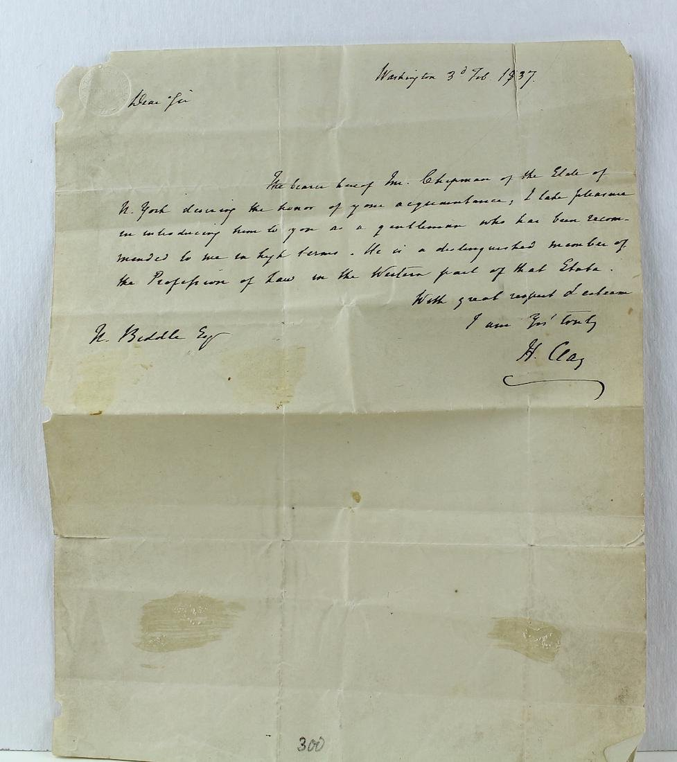 1837 Henry Clay Letter from Washington DC