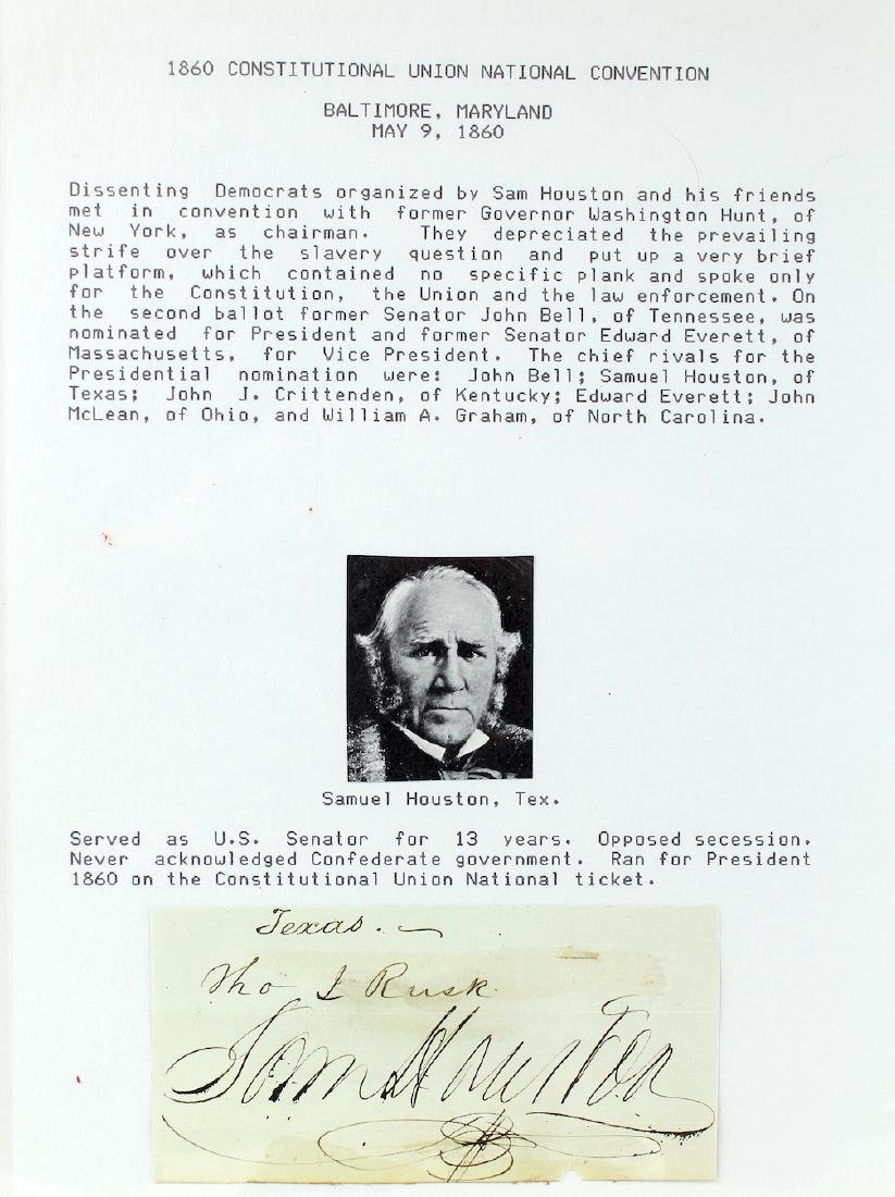 1860 Sam Houston Governor of Texas & Tennessee