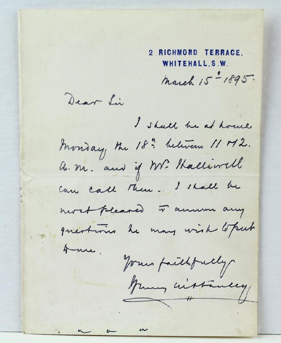 Sir Henry Morton Stanley Letter & Signature 1896