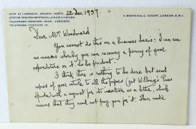 1937 George Bernard Shaw Letter & Signature