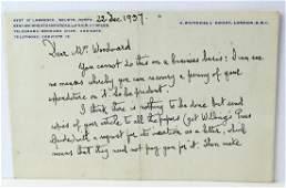 1937 George Bernard Shaw Letter & Signature