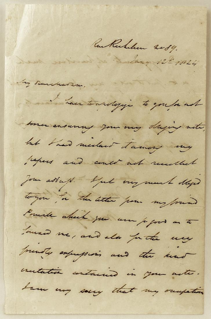 1824 Washington Irving Letter and Signature