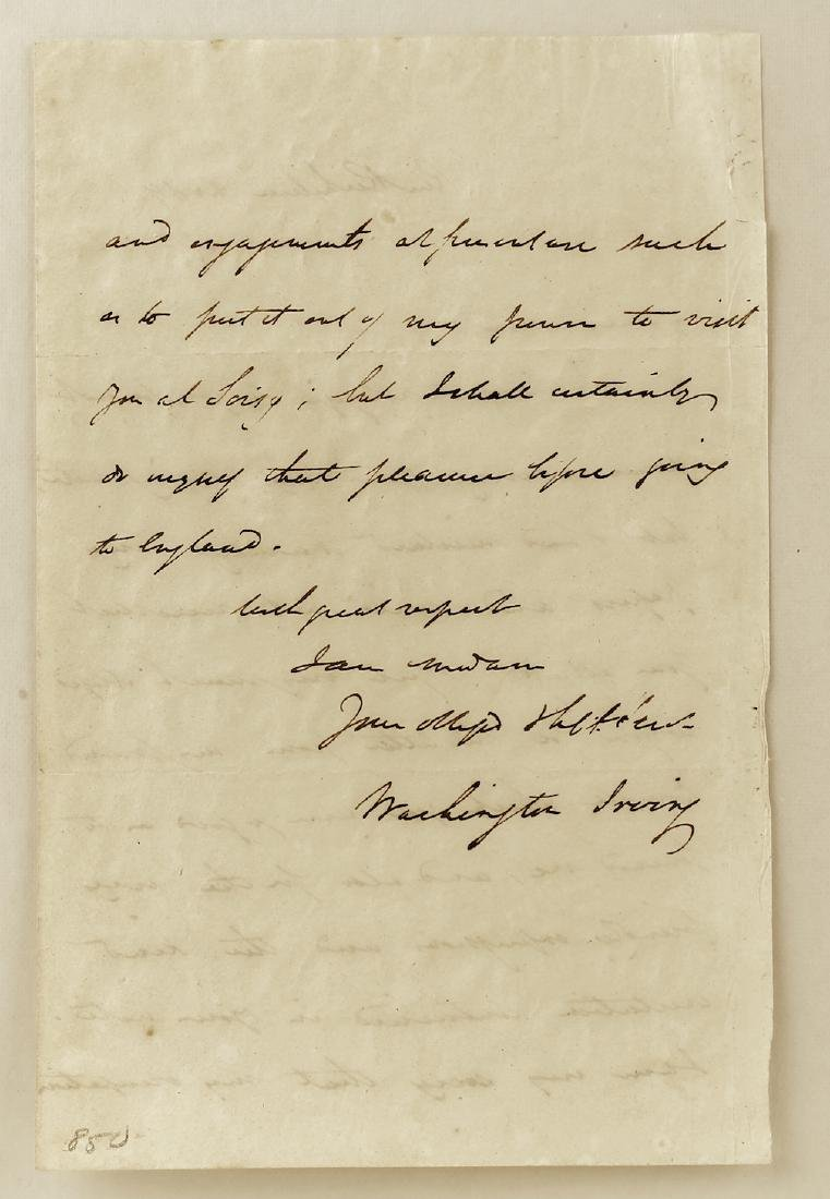 1824 Washington Irving Letter and Signature - 2