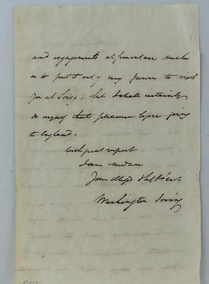 1824 Washington Irving Letter and Signature - 4