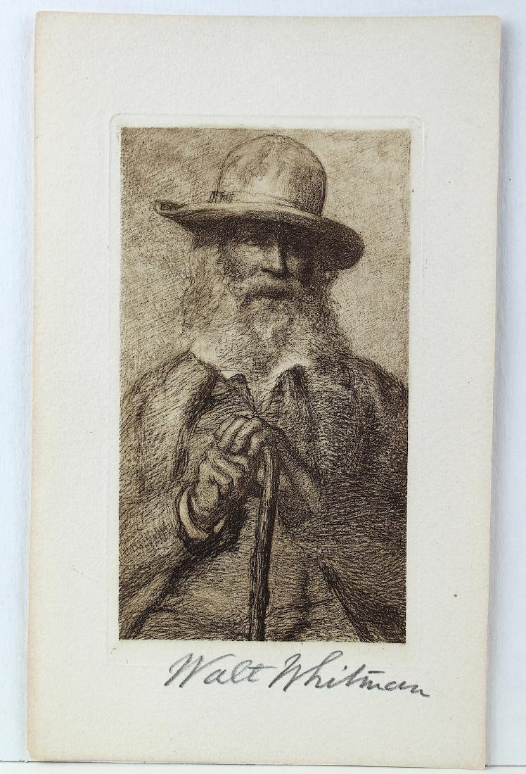 Walt Whitman Signature On Litho Portrait - 2