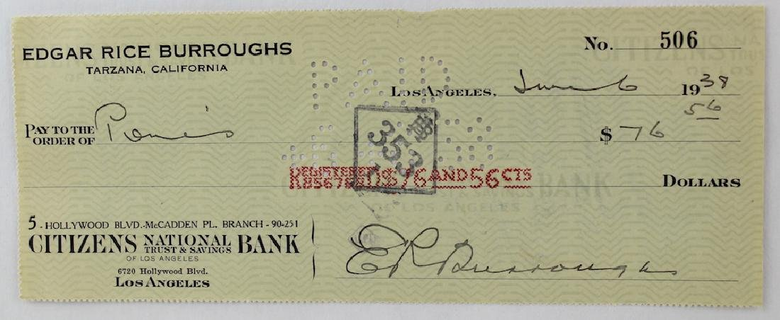 Edgar Rice Burroughs Signature Author of Tarzan