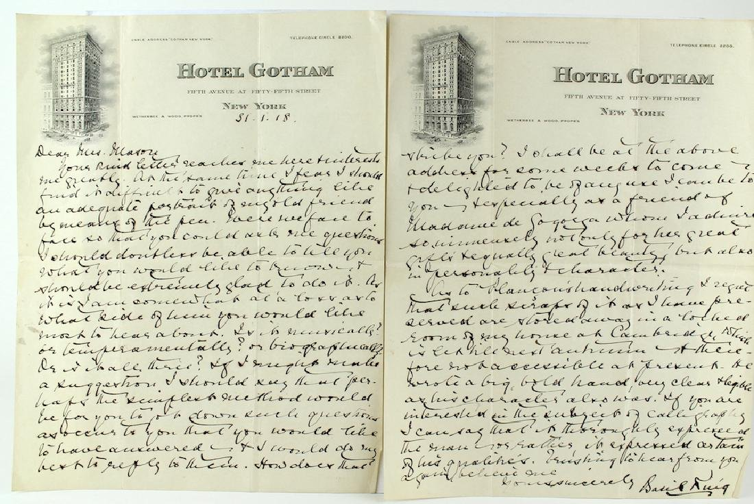 Basil King Letter from Hotel Gotham NY
