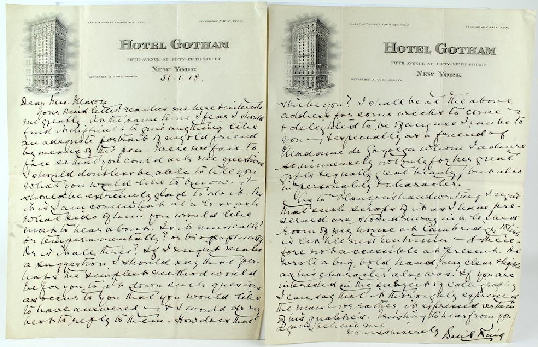 Basil King Letter from Hotel Gotham NY - 2