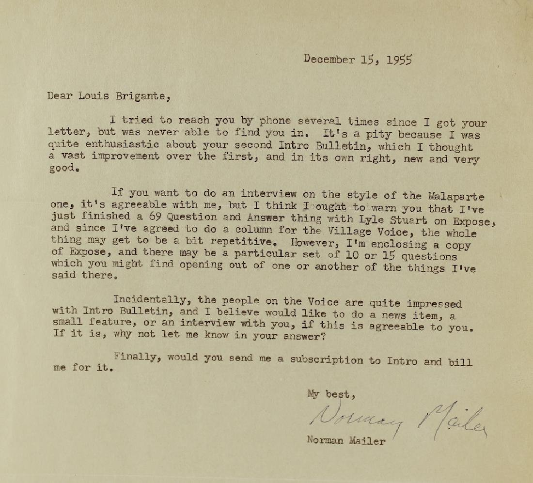 1955 Norman Mailer Letter Signed by Author