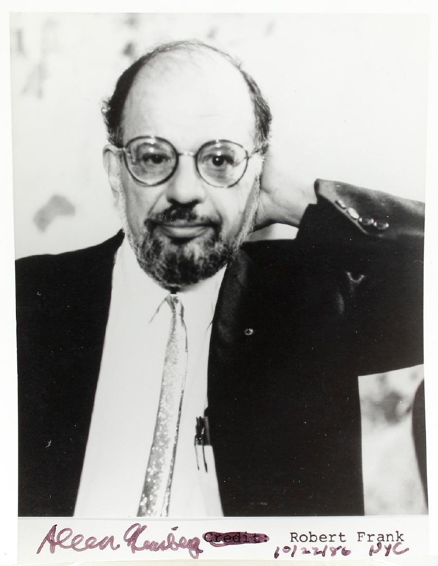 Allen Ginsberg Beat Poet Signature on Photo