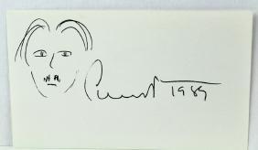 Edgar Albee Signature & Self Portrait
