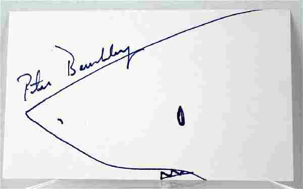 Peter Benchley Author of Jaws Autograph and Drawing