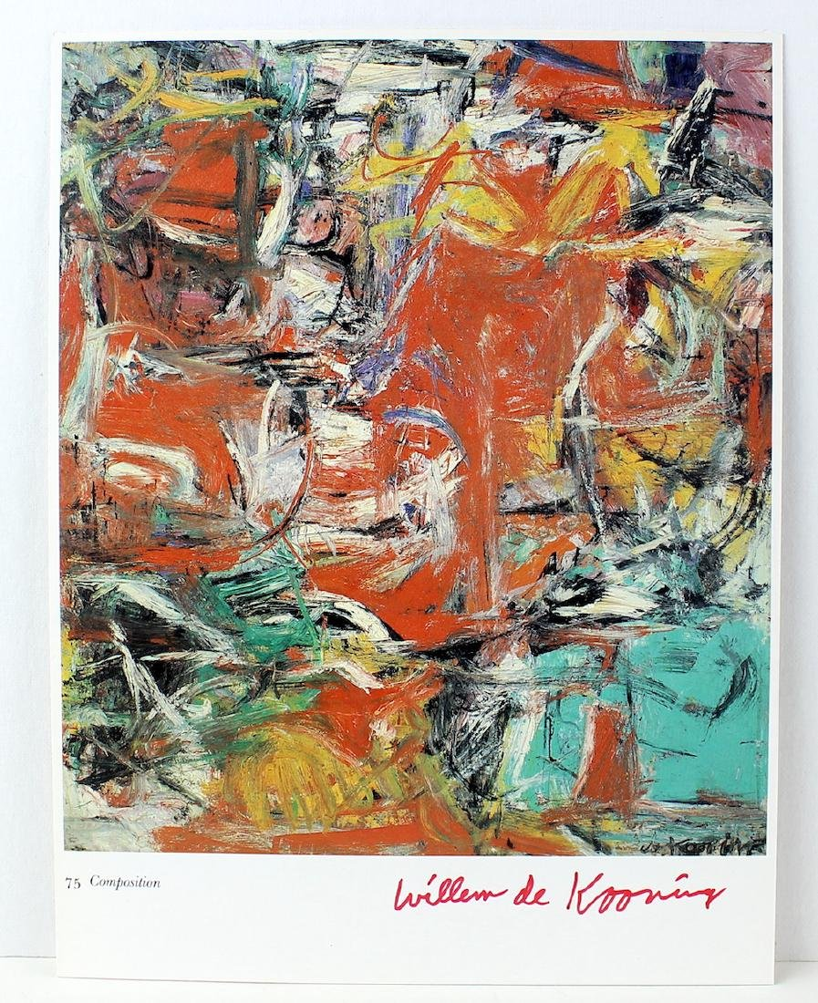 Willem De Kooning Signature on Large Artist Litho Card - 2