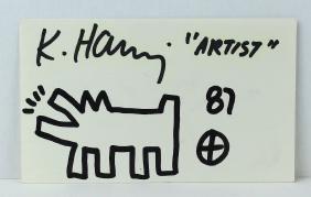 1987 Keith Haring Artist Drawing & Signature