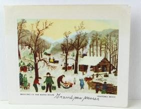 Grandma Moses Signed Card of Bringing in the Maple