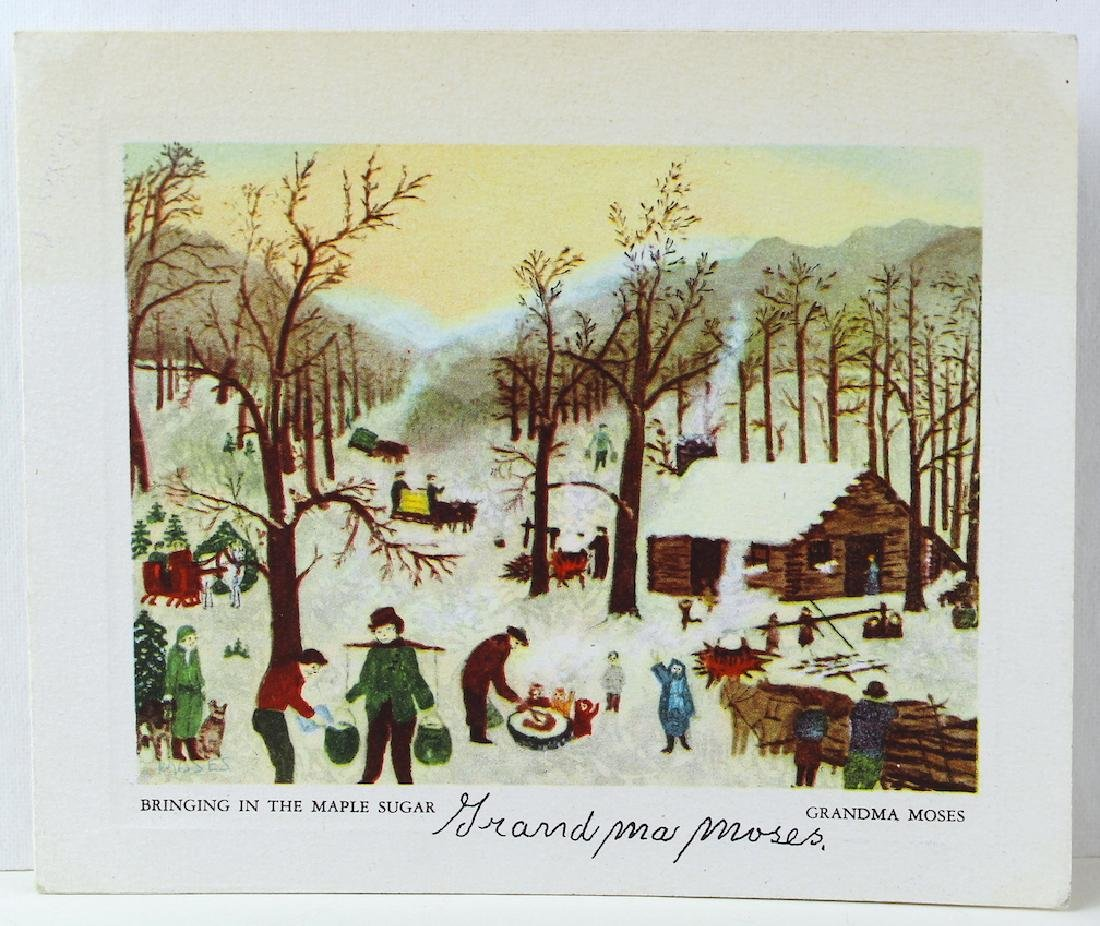 Grandma Moses Signed Card of Bringing in the Maple - 2