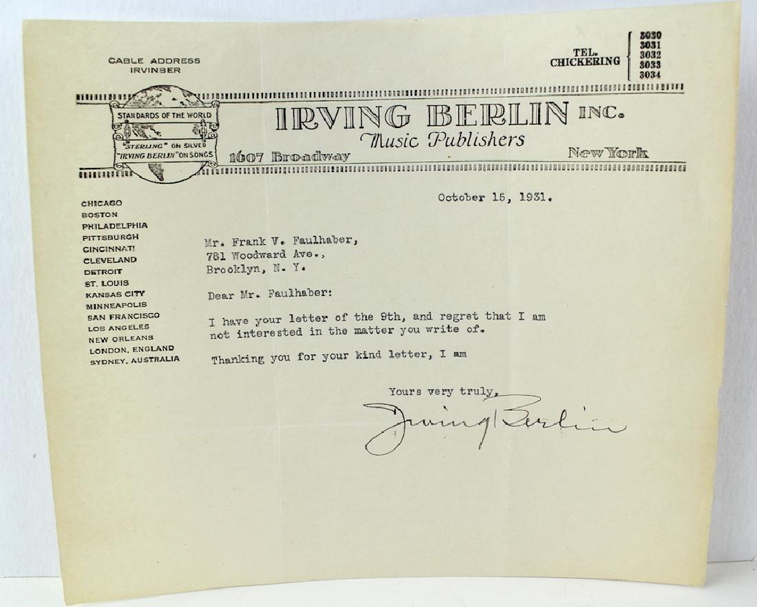 1931 Irving Berlin Signed Letter on Stationary
