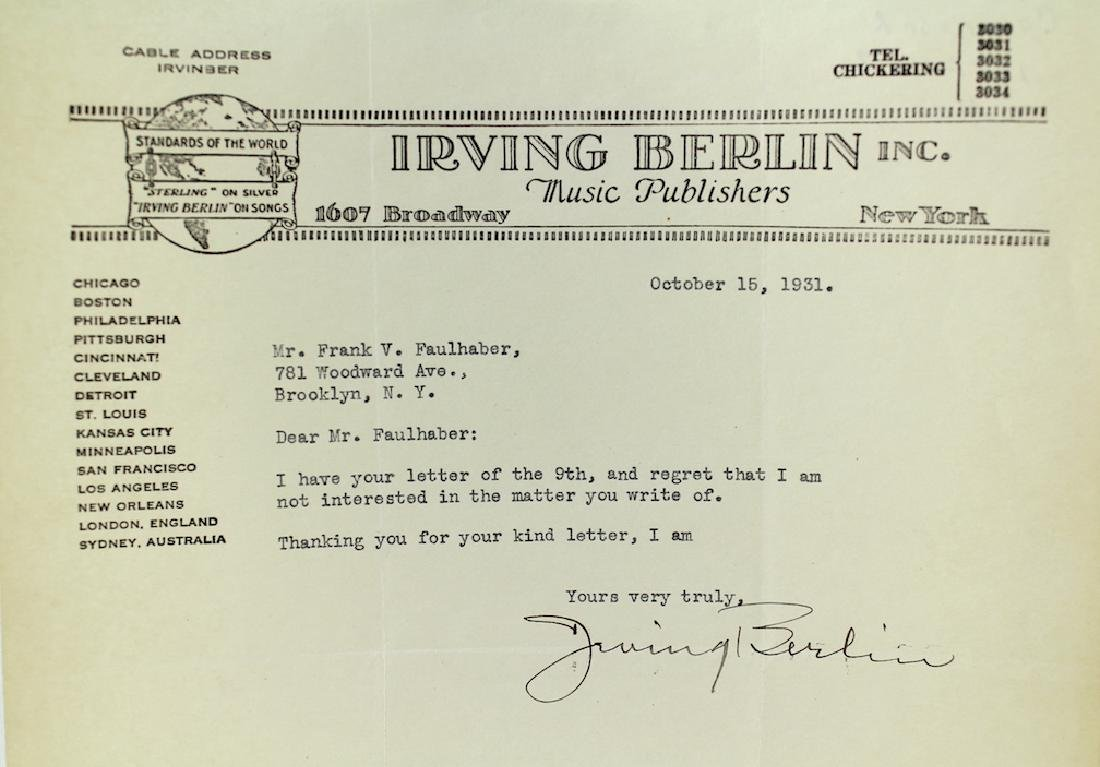 1931 Irving Berlin Signed Letter on Stationary - 2