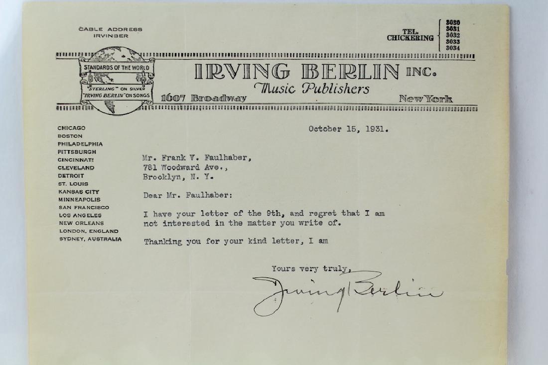 1931 Irving Berlin Signed Letter on Stationary - 3
