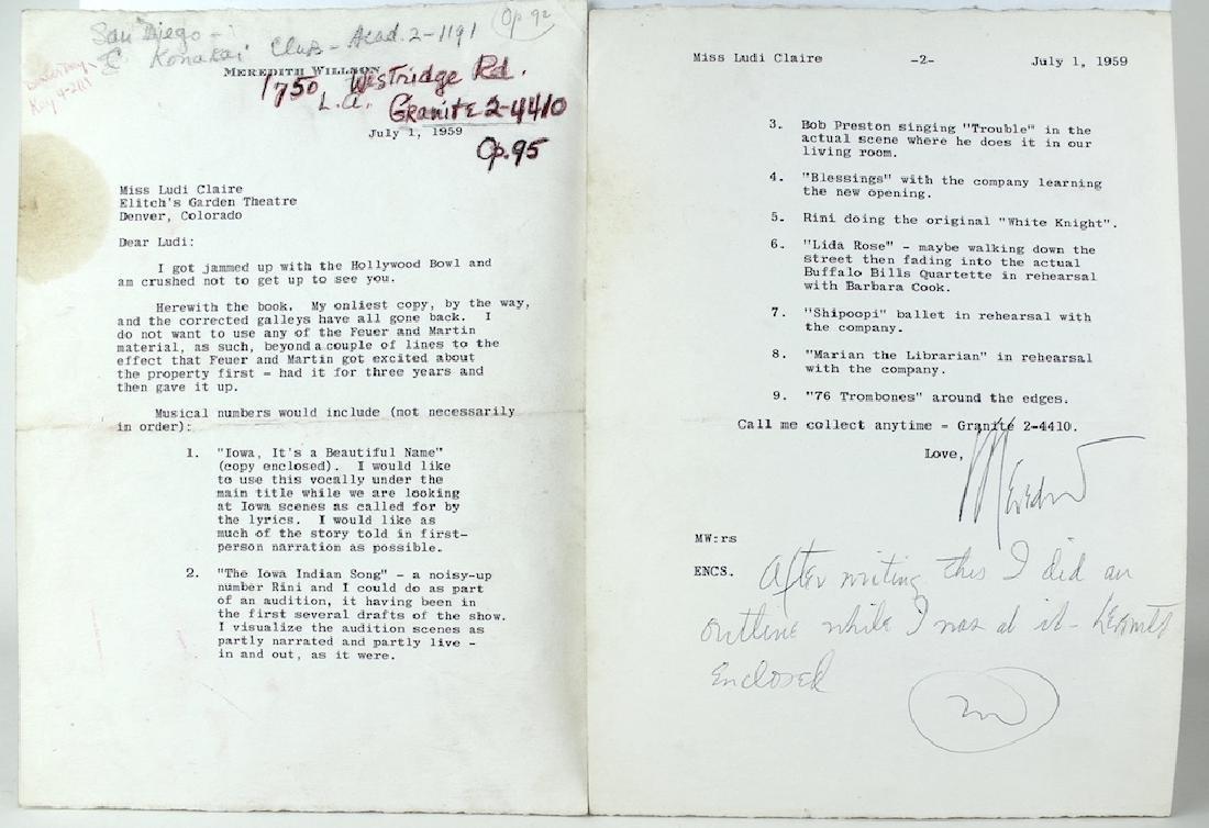 Meredith Willson (Music Man) Signed Letter