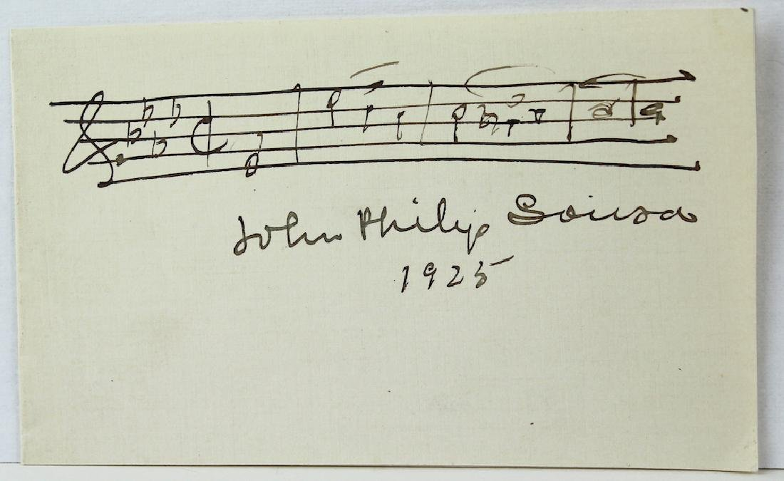 1925 John Philip Sousa Signed Card with Music Scarce