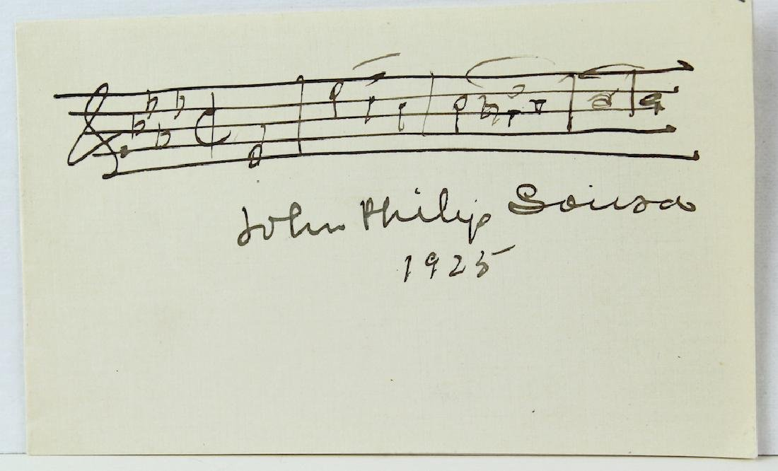 1925 John Philip Sousa Signed Card with Music Scarce - 2