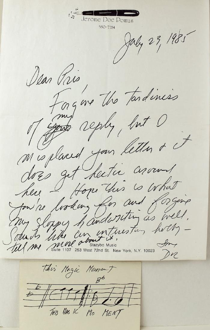 "Jerome Doc Pomus ""This Magic Moment"" Signed Letter"
